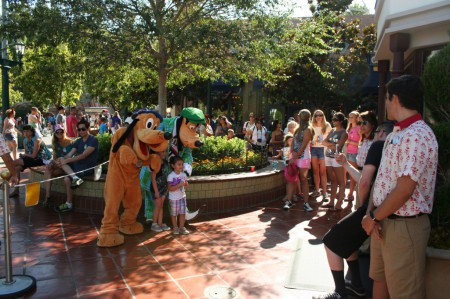 A pair of Disney dogs greet their fans