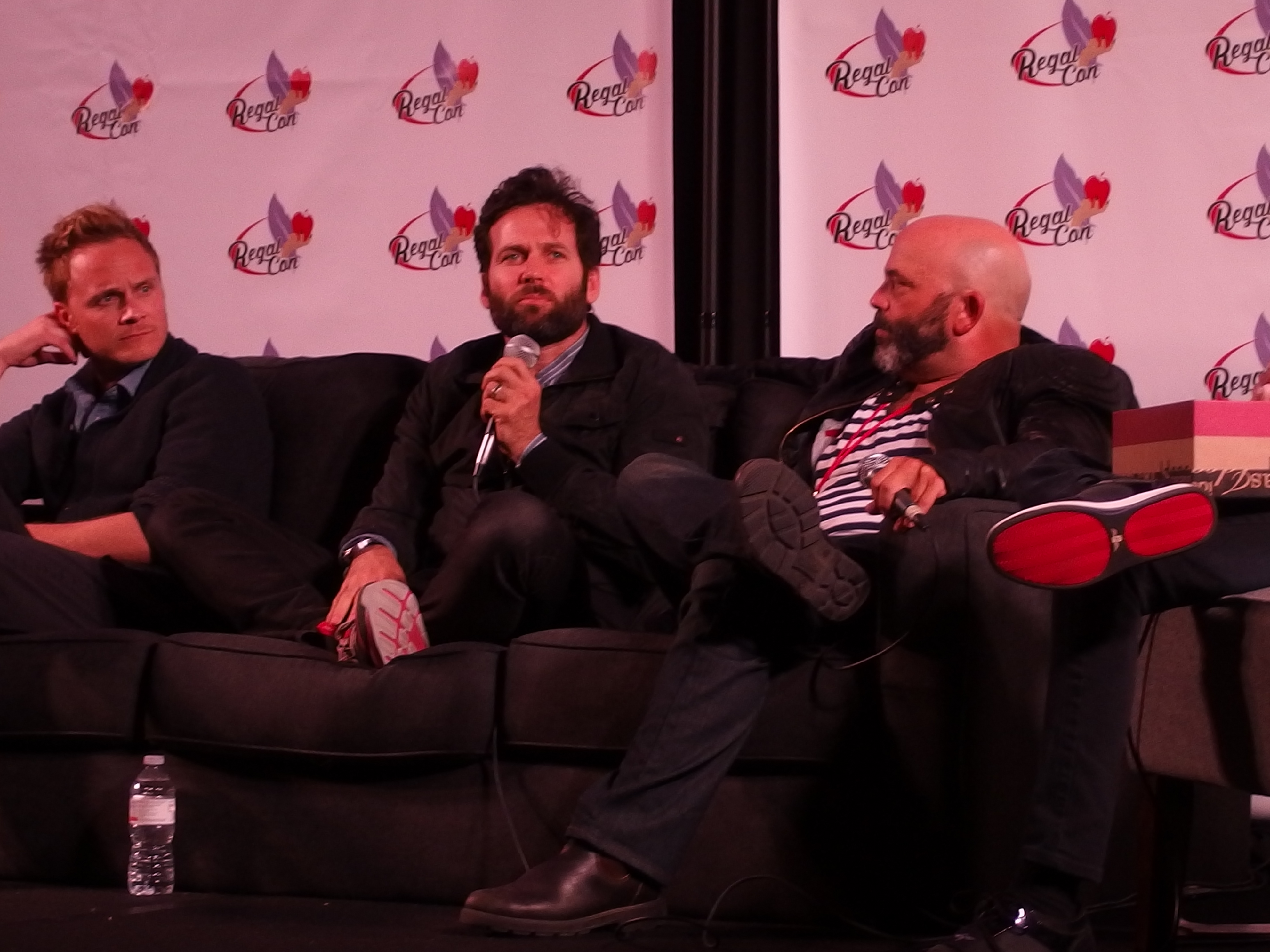 Q&A panel. From left to right, David Anders, Eion Bailey, and Lee Arenberg