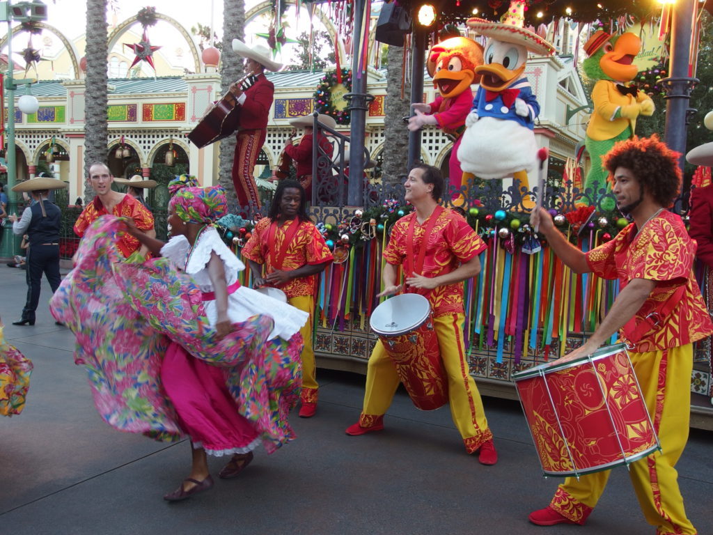 The samba is driven by live drummers