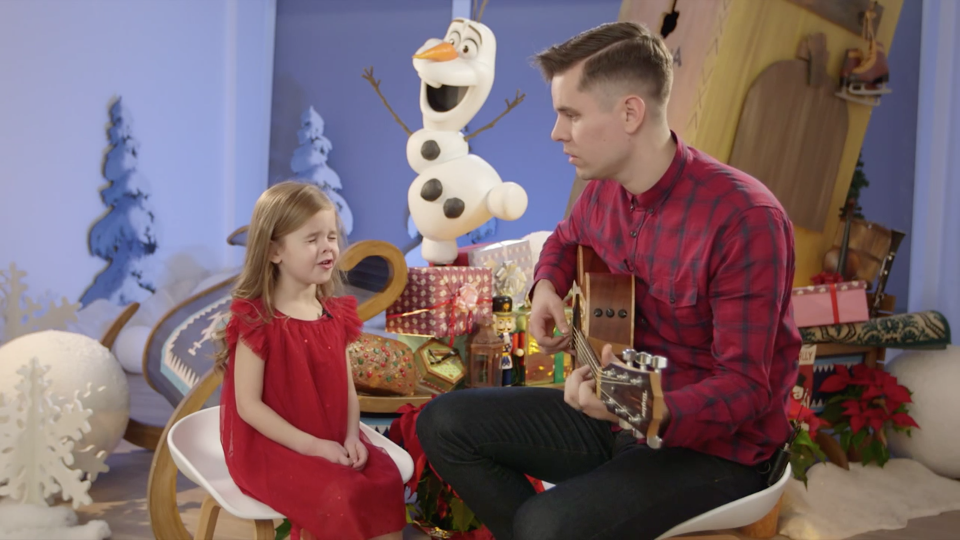 "YouTube Famous Father-Daughter Duo Perform ""When We're Together"" at Walt Disney Animation Studios"