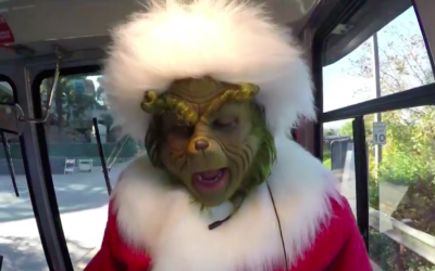 The Grinch Takes Over Studio Tour Tram at Universal Studios Hollywood