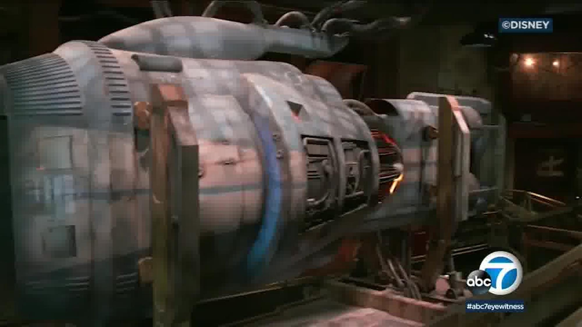 A large capsule resembling a pod racer engine, which is rumored to appear in the queue for one of the attractions. We'll have to wait until the end of May to find out for sure!