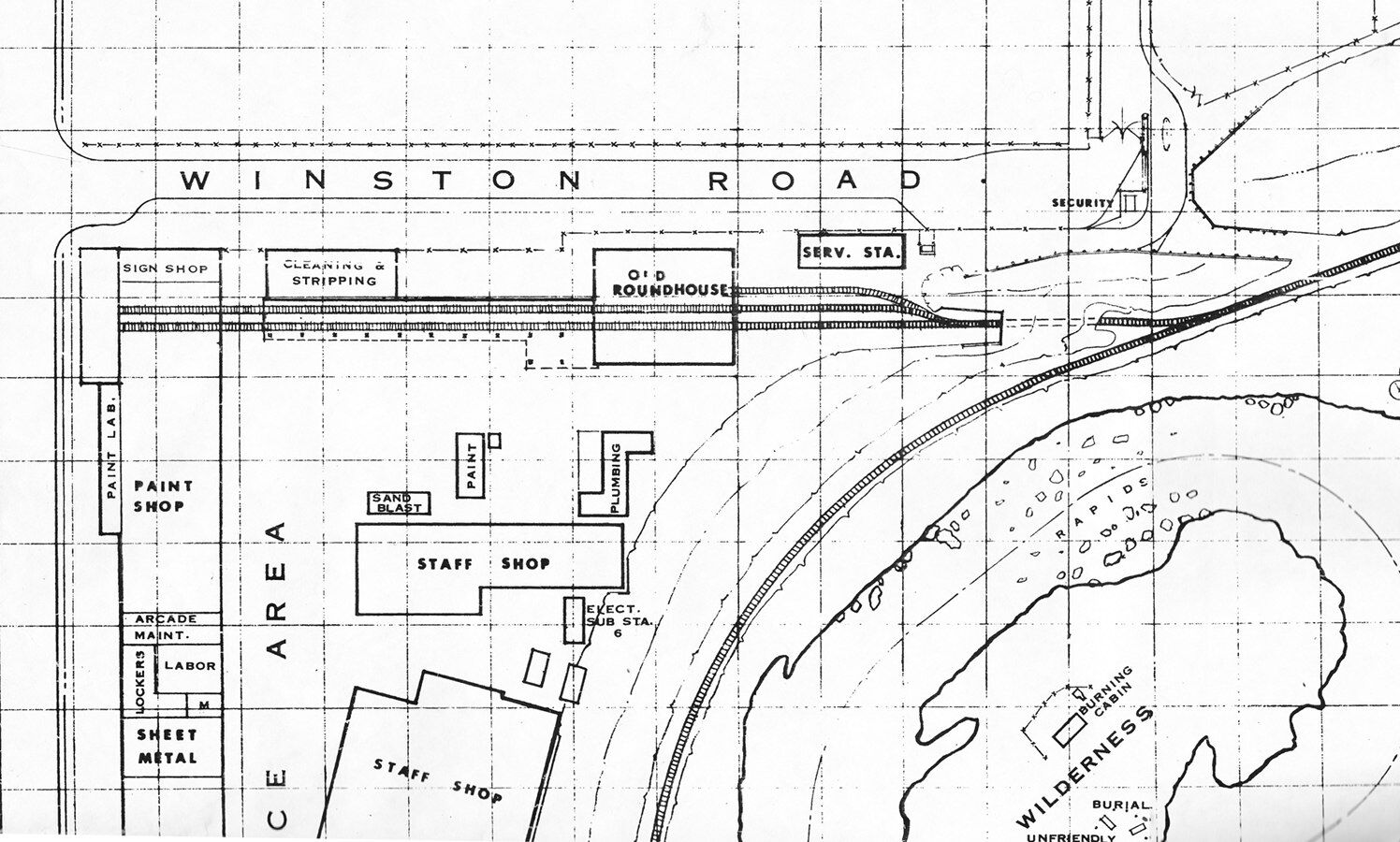 A 1967 plot plan shows where the train shed and its related structures were located.
