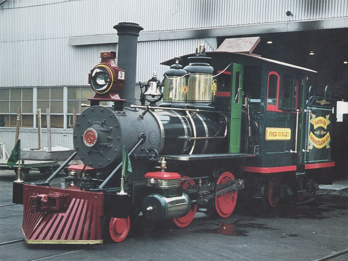 Engine #3, the Fred Gurley, is seen outside the original Disneyland roundhouse.