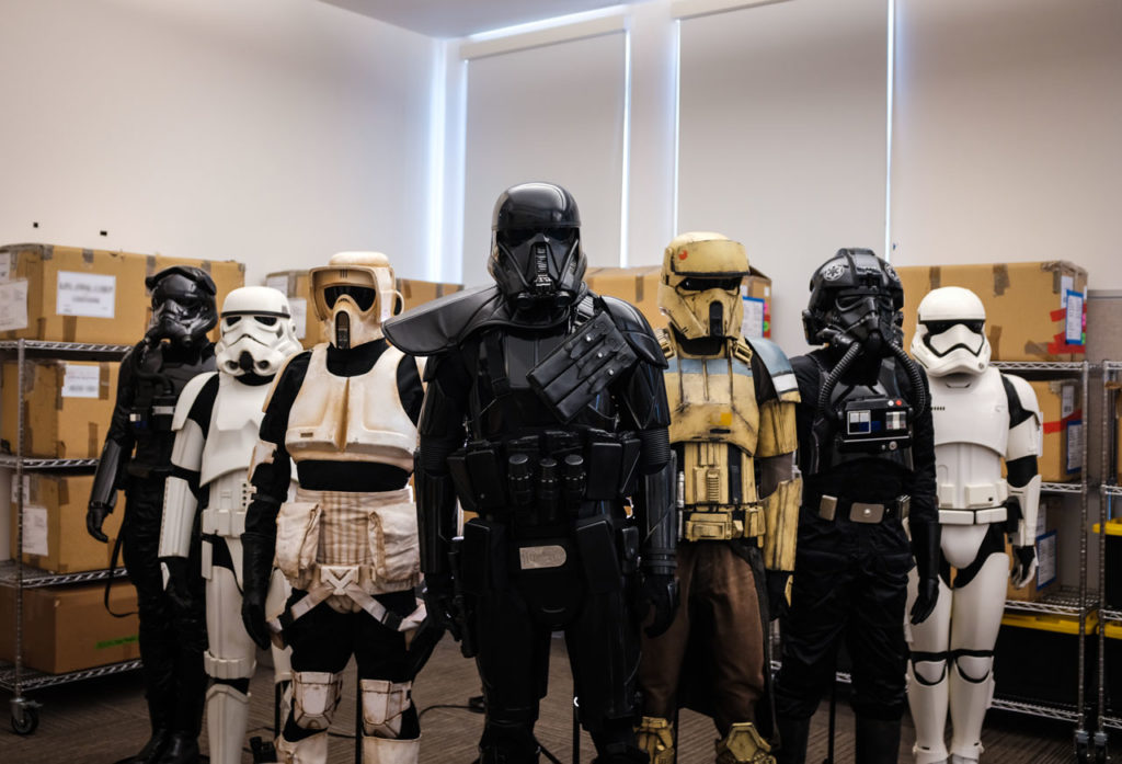 Various stormtrooper armor sets at Lucasfilm