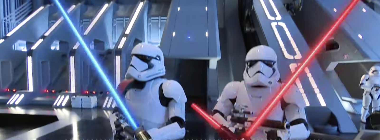 Note: The lightsabers were part of a scene cut animation and are NOT part of the attraction.