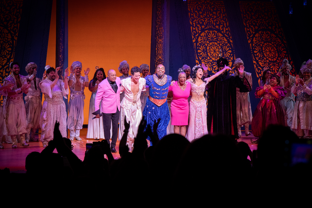 Peabo Bryson, Jacob Dickey, Michael James Scott, Regina Belle, Arielle Jacobs and the cast of Aladdin on Broadway. Photo Credit – Shay Frey