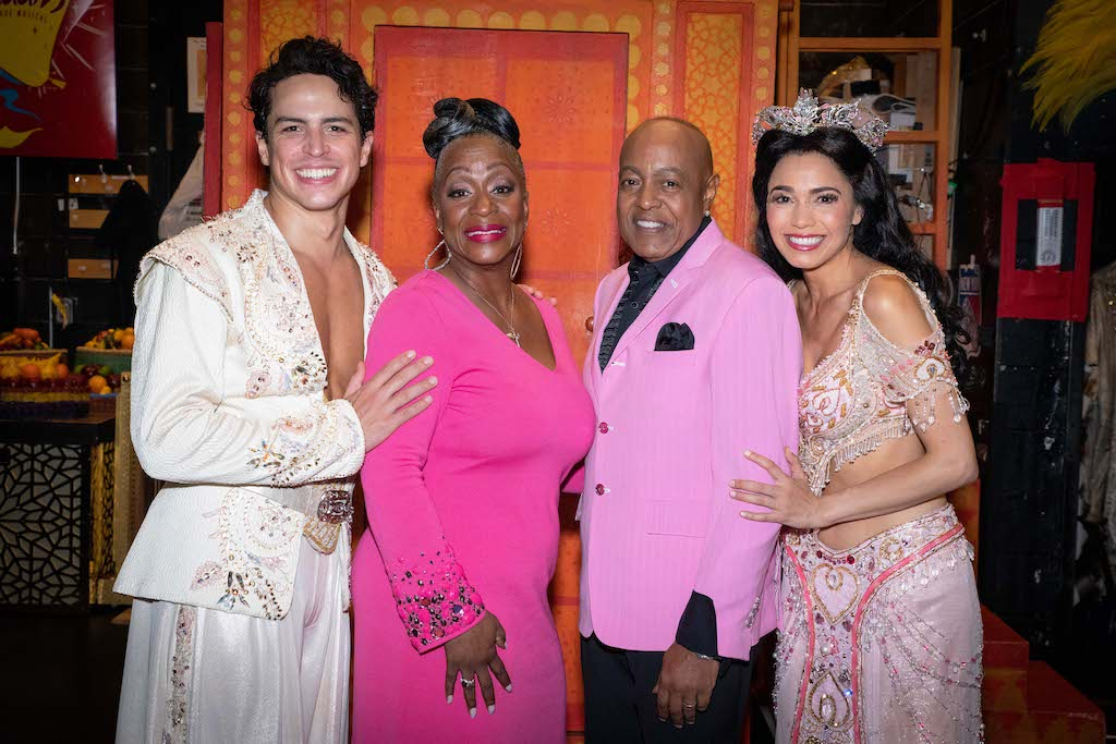 Jacob Dickey, Regina Belle, Peabo Bryson, and Arielle Jacobs at Aladdin on Broadway. Photo Credit – Shay Frey