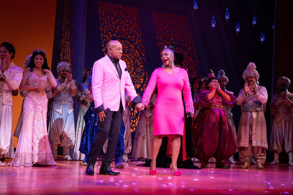 Peabo Bryson, Regina Belle and the cast of Aladdin on Broadway. Photo Credit – Shay Frey