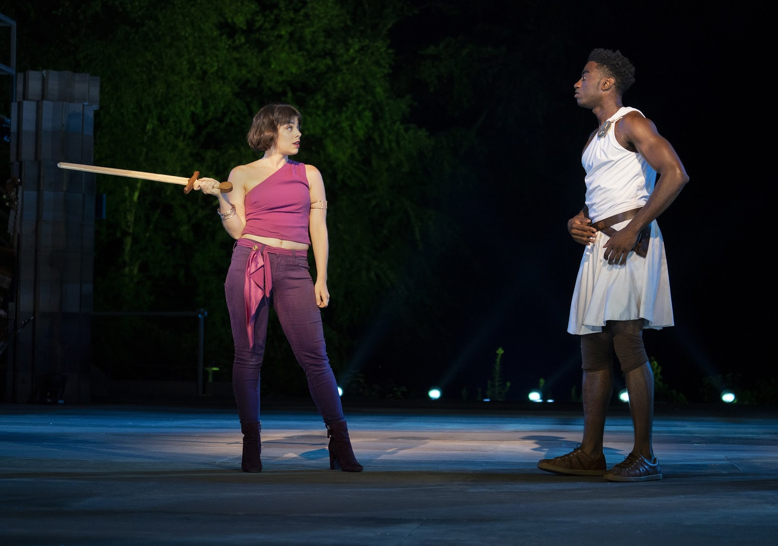 Krysta Rodriguez and Jelani Alladin in The Public Theater's free Public Works musical adaptation of Hercules, with music by Alan Menken, lyrics by David Zippel, book by Kristoffer Diaz, choreography by Chase Brock, and directed by Lear deBessonet, running at the Delacorte Theater. Photo credit: Joan Marcus.
