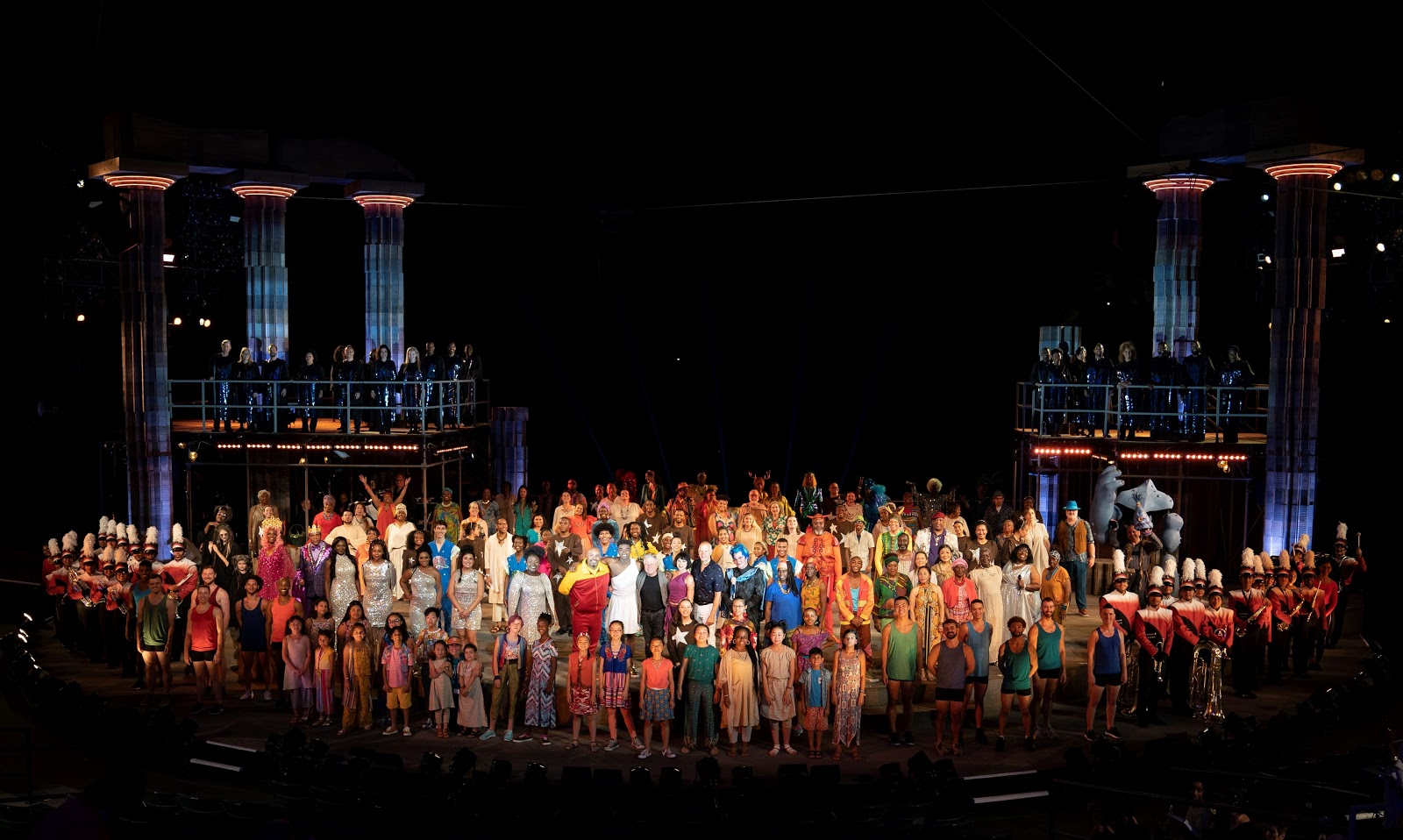 The company of The Public Theater's free Public Works musical adaptation of Hercules, with music by Alan Menken, lyrics by David Zippel, book by Kristoffer Diaz, choreography by Chase Brock, and directed by Lear deBessonet, running at the Delacorte Theater. Photo credit: Joan Marcus.