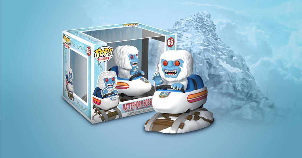 Funko Pop featuring the Yeti riding in the Matterhorn bobsled ride vehicle