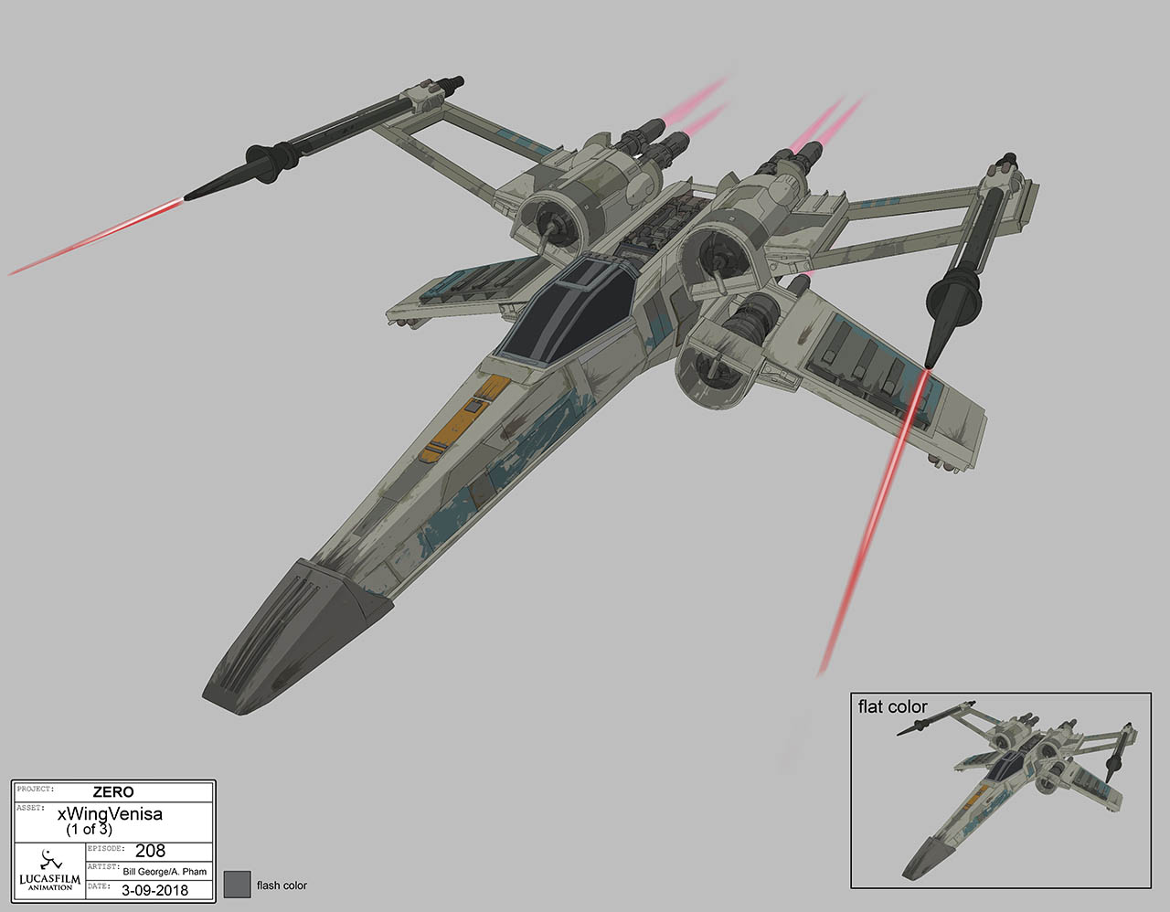 Design of Venisa's modified X-Wing starfighter.