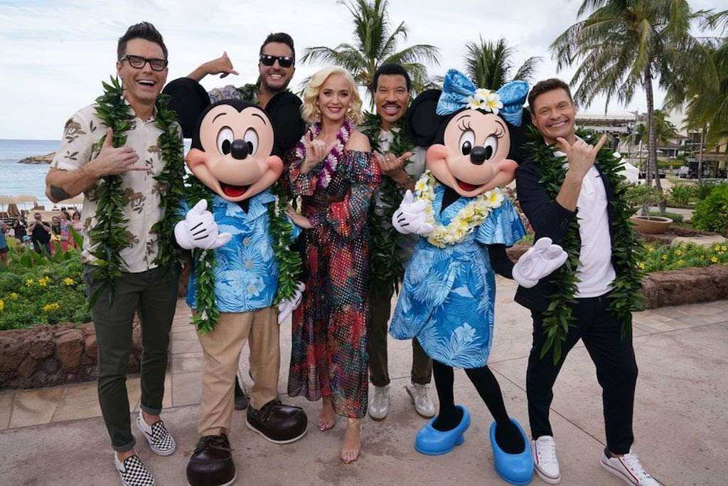 Bobby Bones, Mickey Mouse, Luke Bryan, Katy Perry, Lionel Richie, Minnie Mouse and Ryan Seacrest