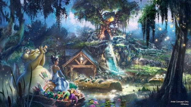 """Artist Concept of completely reimagined attraction inspired by """"The Princess and the Frog"""" coming to Disneyland park and Magic Kingdom Park"""