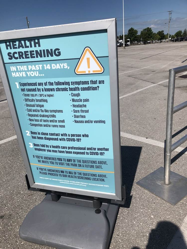 Health Screening required before you enter the park
