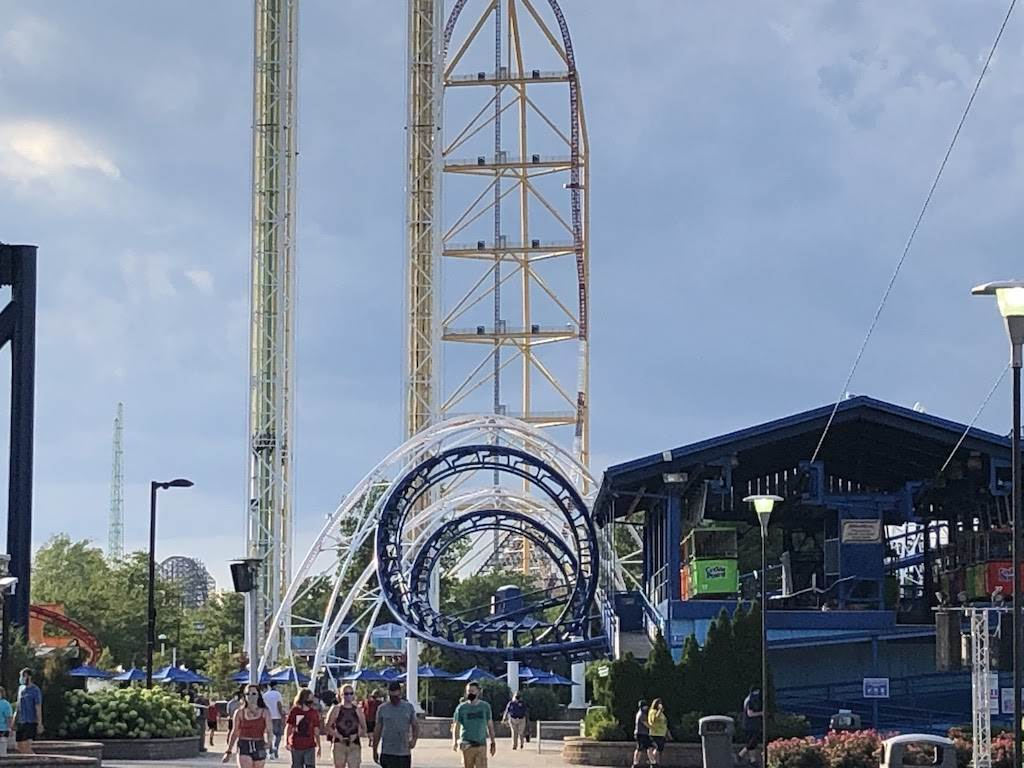 Cedar Point roller coasters: Corkscrew, Power Tower, Top Thrill Dragster