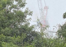 Walt Disney World Construction Crane Near Swan and Dolphin Resort Struck By Lightning