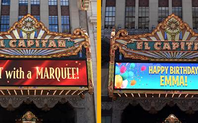 Historic El Capitan Theater in Hollywood Invites Your Personal Messages To Be Displayed on Landmark Marquee