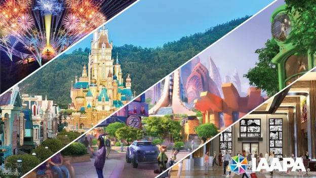 Collage of renderings for upcoming experiences at Disney Parks - via Disney Parks Blog
