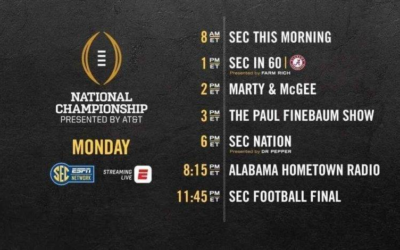 SEC Network Featuring 15 Hours of Coverage on Championship Monday for College Football Playoffs